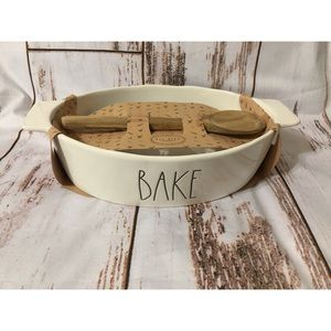 Rae Dunn Bake dish with wooden spoon